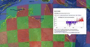 Google Earth muestra una regilla mundial con los datos y gráficos de temperatura